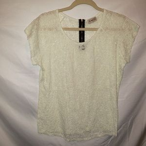 Anthropologie Free Kisses Sz XL Lace Top Zip Back
